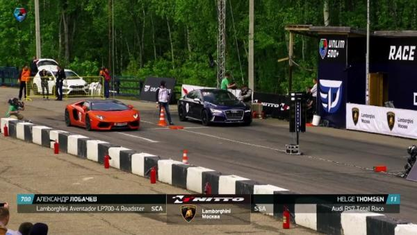 Audi RS7 Total Race (900 HP), Helge Th. vs Lamborghini Aventador LP700-4 Roadster (700 HP), Alexandr L. vs Porsche 911 Turbo S (991) Cobb Stage 2 (650 HP), Anatoly V.